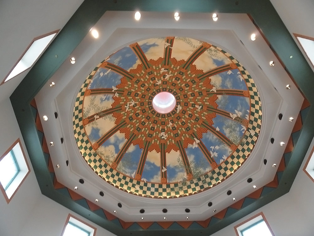 Pyrok acoustical plaster dome ceiling with ornate tiling